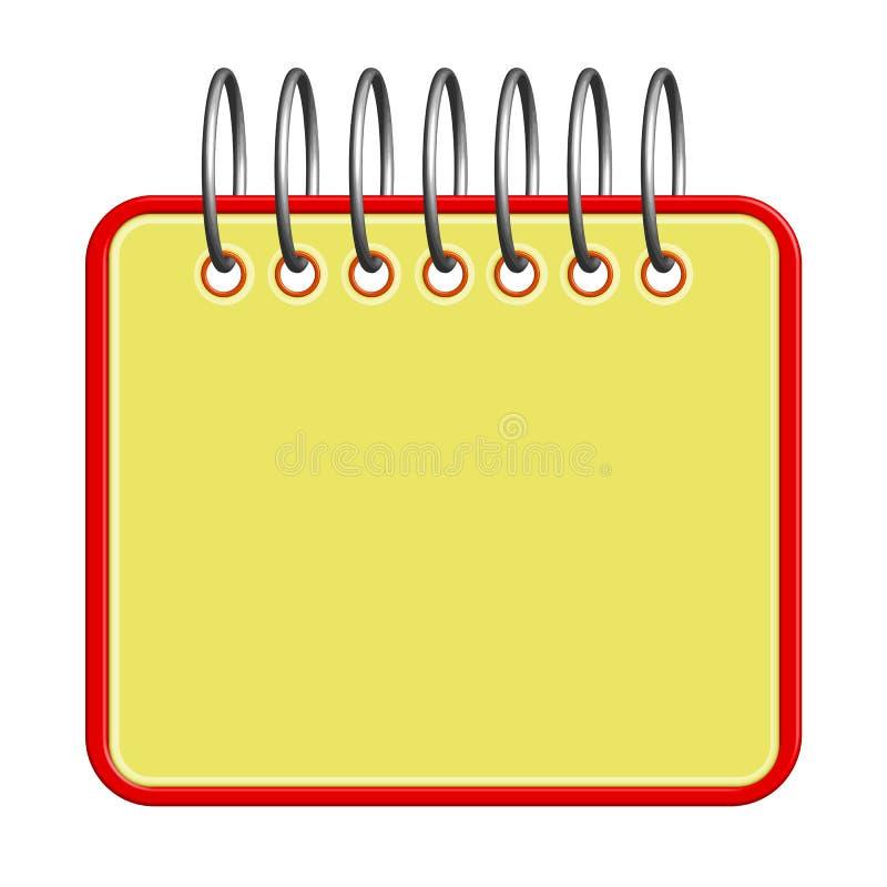 笔记的笔记本与一种螺旋布局,空白的黄色垫, blo 皇族释放例证