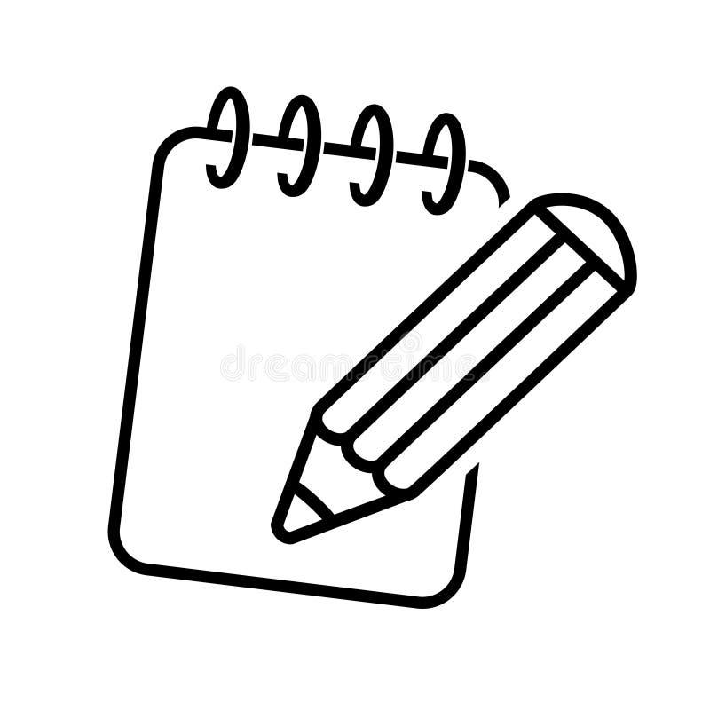 笔记薄的黑标志 铅笔象有书写纸的 设计线路 向量例证