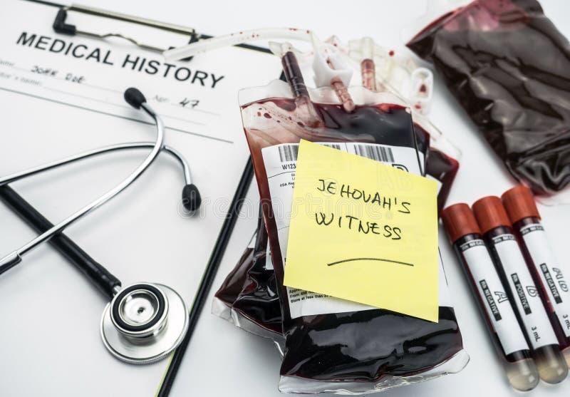 笔记警告病残是耶和华的证人,输血否认,概念性图象的概念 库存图片