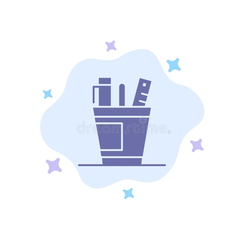 笔,书桌,办公室,组织者,供应,供应,在抽象云彩背景的工具蓝色象 皇族释放例证