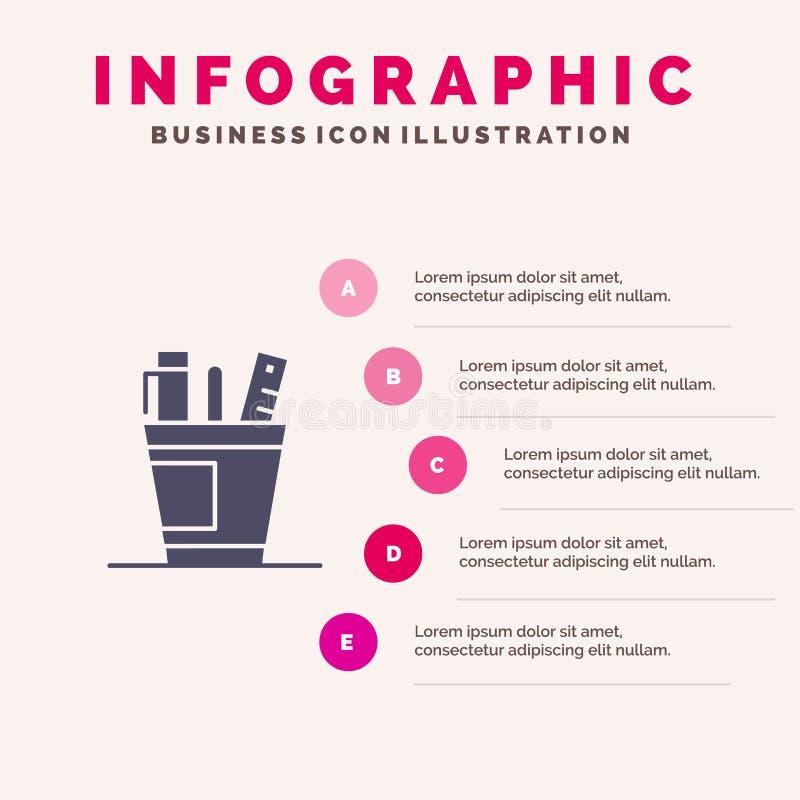 笔,书桌,办公室,组织者,供应,供应,工具坚实象Infographics 5步介绍背景 向量例证