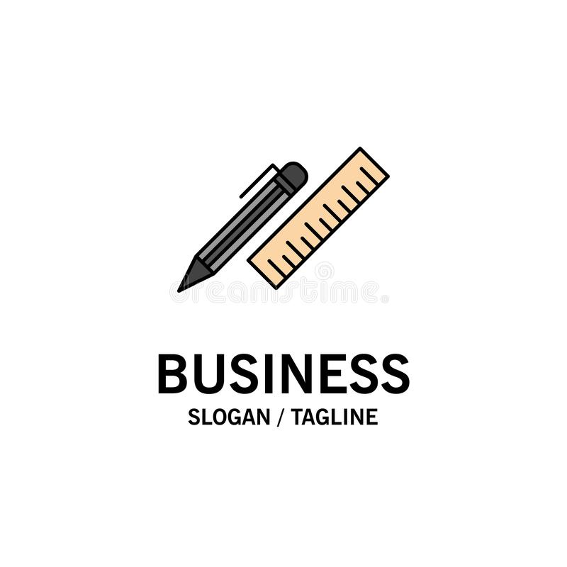 笔,书桌,组织者,铅笔,统治者,供应企业商标模板 o 向量例证