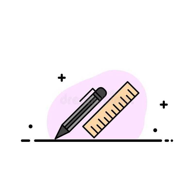 笔,书桌,组织者,铅笔,统治者,供应企业平的线填装了象传染媒介横幅模板 向量例证