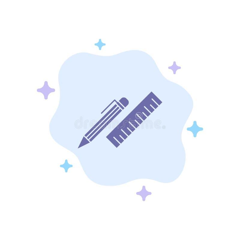笔,书桌,组织者,铅笔,统治者,供应在抽象云彩背景的蓝色象 库存例证