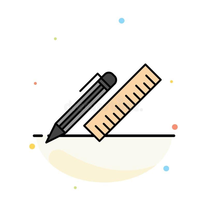 笔,书桌,组织者,铅笔,统治者,供应抽象平的颜色象模板 皇族释放例证