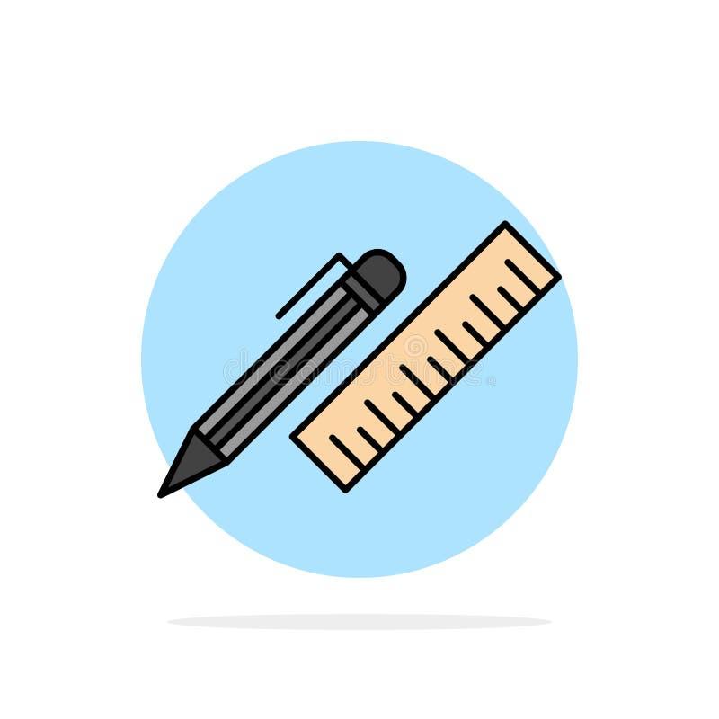 笔,书桌,组织者,铅笔,统治者,供应提取圈子背景平的颜色象 皇族释放例证