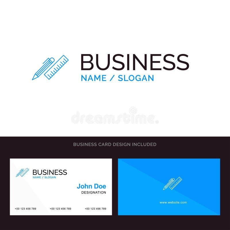 笔,书桌,组织者,铅笔,统治者,供应蓝色企业商标和名片模板 前面和后面设计 向量例证
