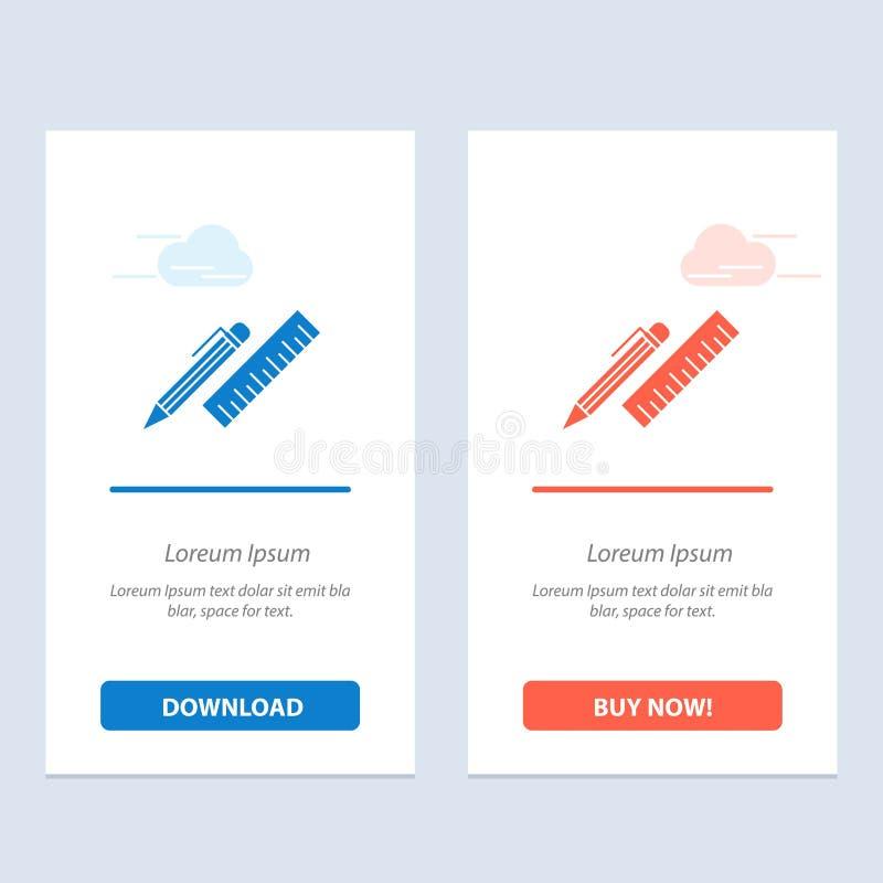 笔,书桌,组织者,铅笔,统治者,供应蓝色和红色下载并且现在买网装饰物卡片模板 库存例证