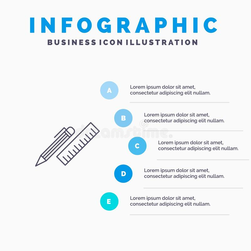 笔,书桌,组织者,铅笔,统治者,馈电线象有5步介绍infographics背景 向量例证