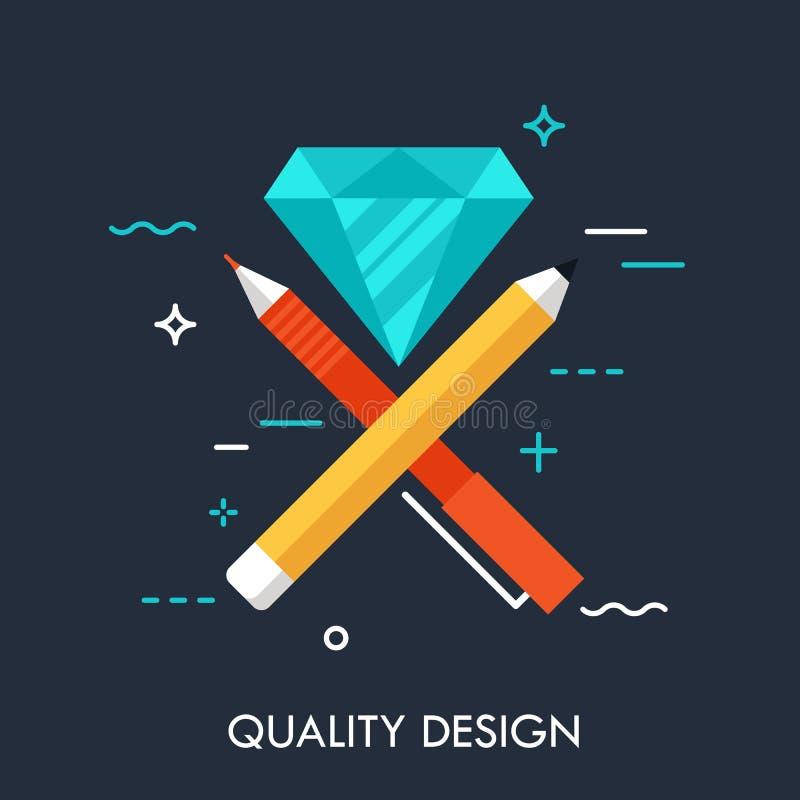 笔,笔和金刚石平的设计横幅 质量,创造性思为,创新见解一代,艺术性的工作的概念 向量例证