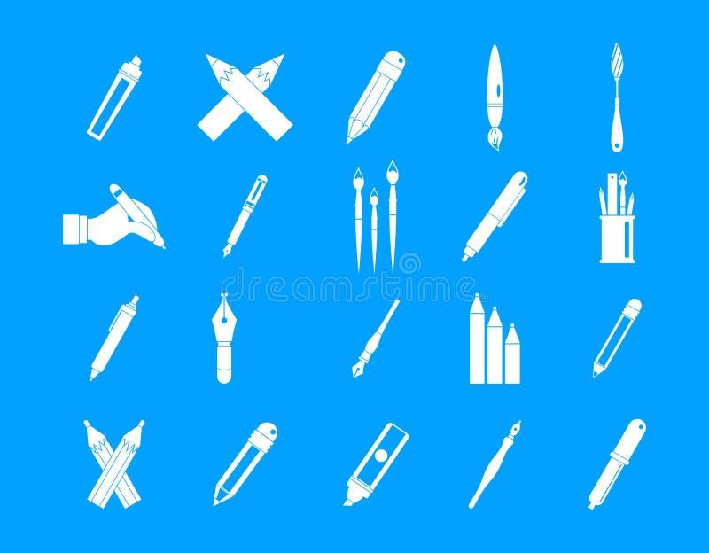 笔,铅笔象蓝色集合传染媒介 皇族释放例证