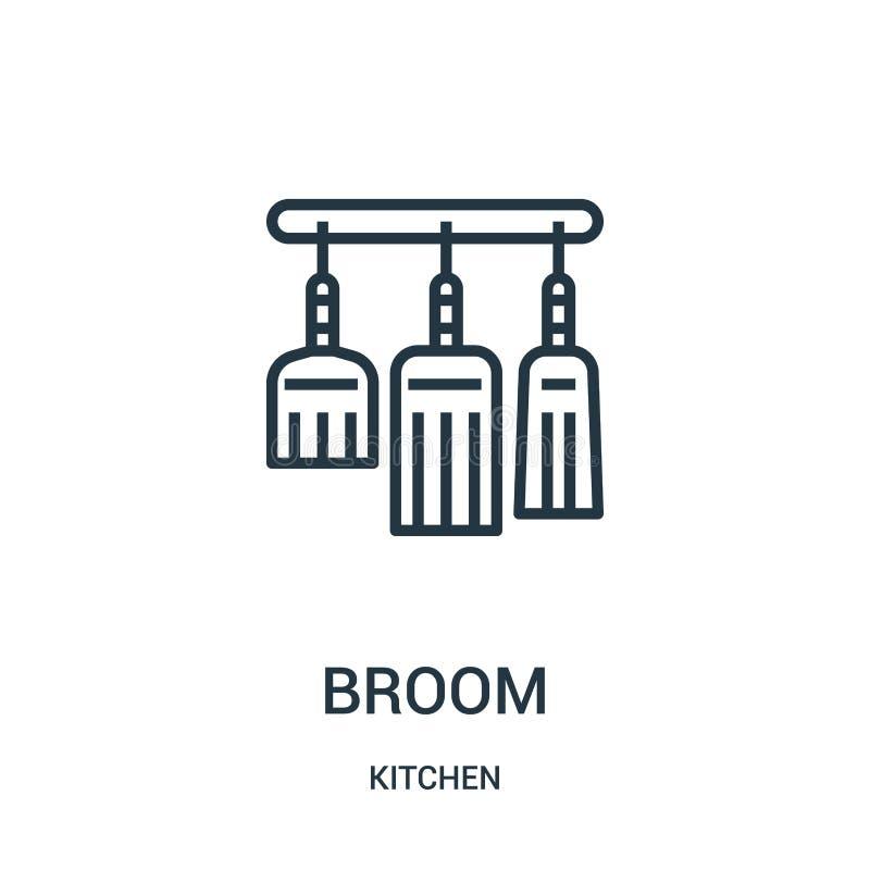 笤帚从厨房汇集的象传染媒介 r 向量例证