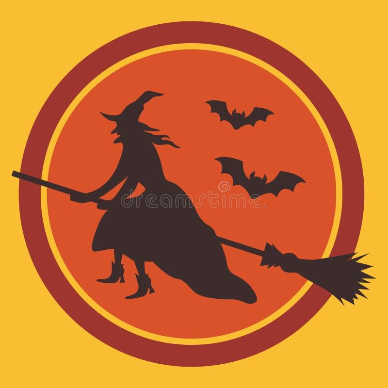 笤帚和棒剪影的巫婆反对月亮 向量例证