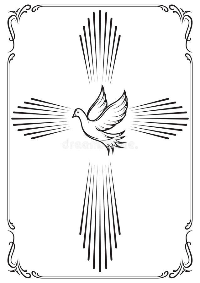 符号十字架和鸠 教会的模板象征 设计例证担任主角向量 向量例证