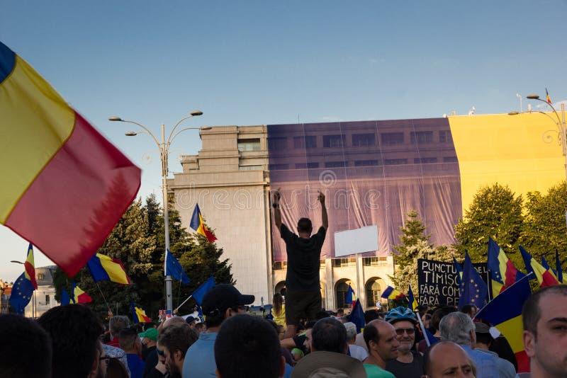 符号观点的一个抗议者在布加勒斯特 免版税图库摄影