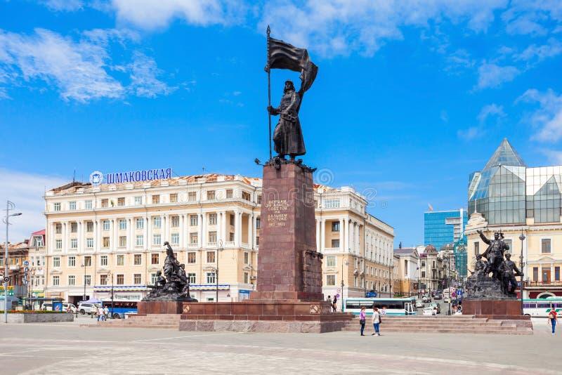 符拉迪沃斯托克的中心广场 免版税库存照片