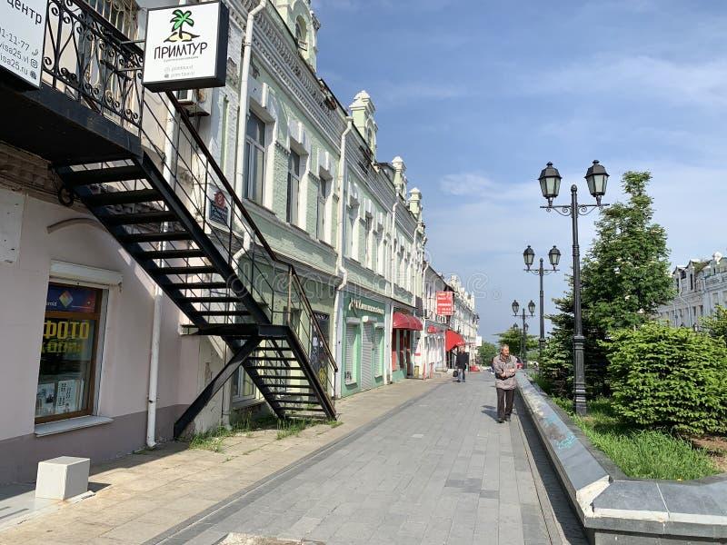 符拉迪沃斯托克,俄罗斯,2019年5月,25日 历史建筑,在福金街道上的房子8 r 免版税库存图片