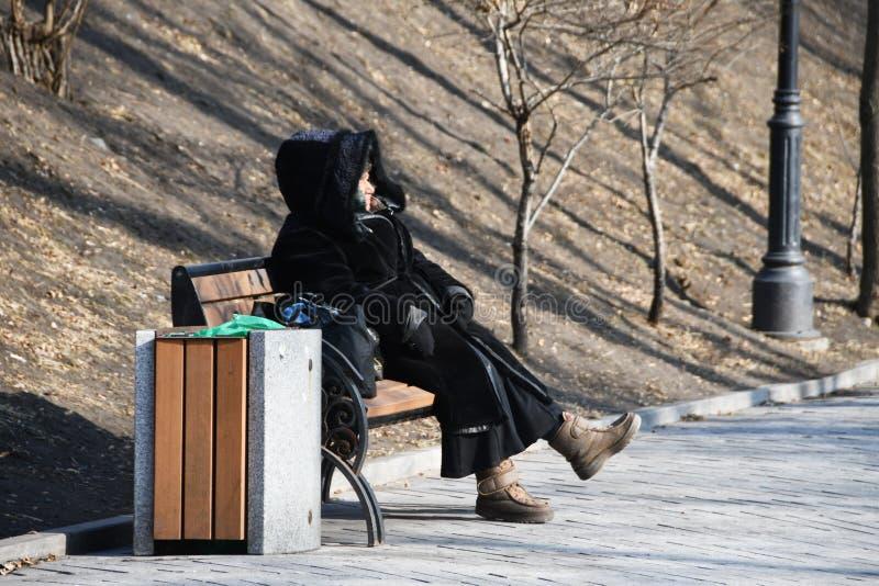 符拉迪沃斯托克,俄罗斯,2019年1月19日 黑毛皮大衣的年长妇女坐一条长凳在以Nevelsky命名的公园在sunn 库存照片