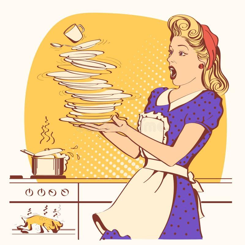 笨拙的主妇和俯视的烤鸡在烤箱 向量 皇族释放例证
