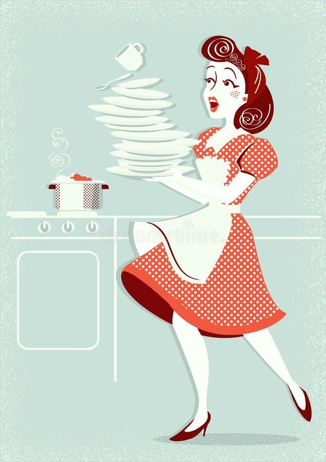 笨拙的可爱的妇女落的板材和盘在她的厨房里 库存例证