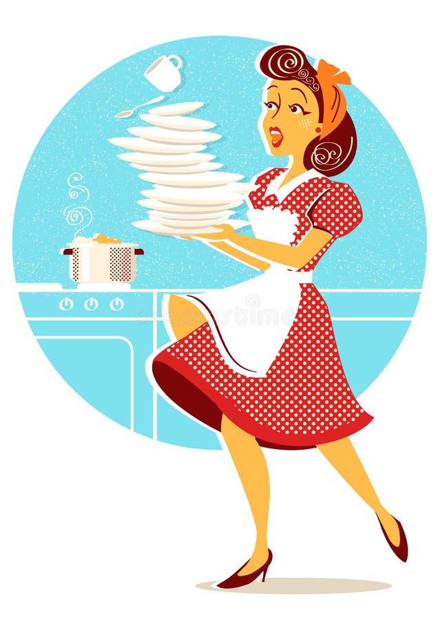 笨拙的可爱的妇女落的板材和盘在她的厨房里 向量例证