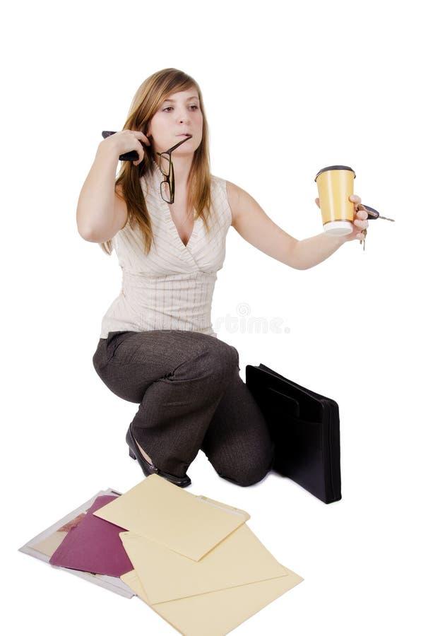 笨拙的女实业家 免版税库存照片