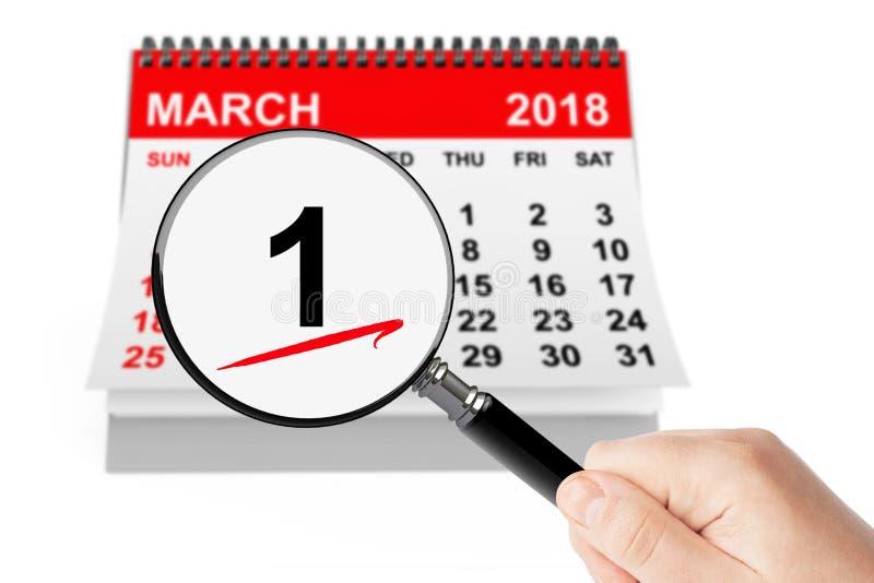 第一个春日概念 与放大器的1本行军日历 向量例证