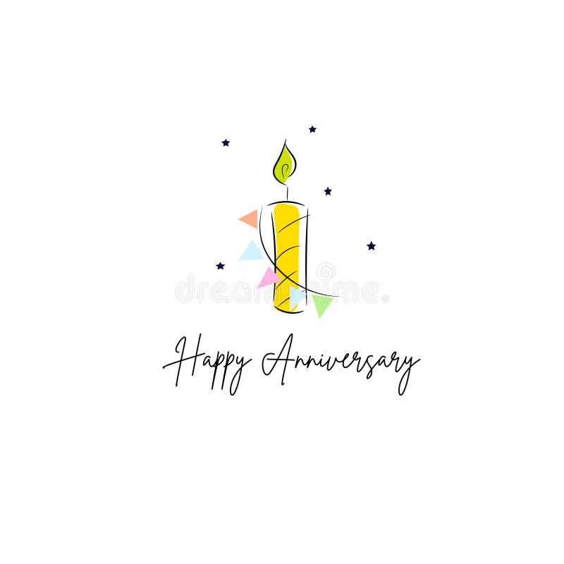 第一个生日欢乐蜡烛卡片设计模板 皇族释放例证