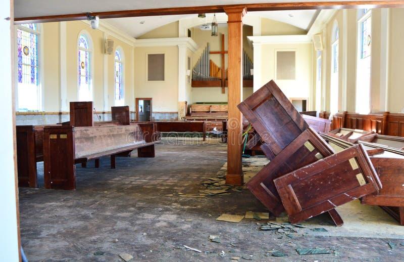 第一个联合卫理公会教堂内部在飓风迈克尔以后的 免版税库存照片