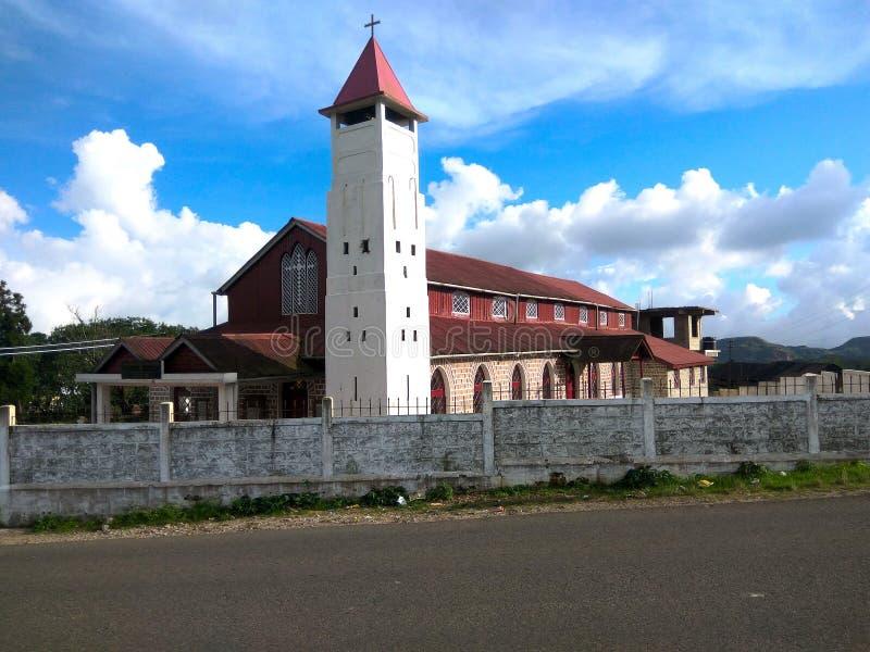 第一个长老派教会乞拉朋齐梅加拉亚邦印度 库存照片