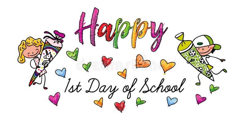 第一天学校-与糖果锥体的愉快的第一辆平地机-五颜六色的手拉的动画片 向量例证