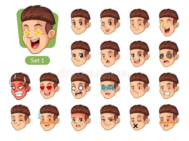 第一套与红色头发的男性面部情感 向量例证