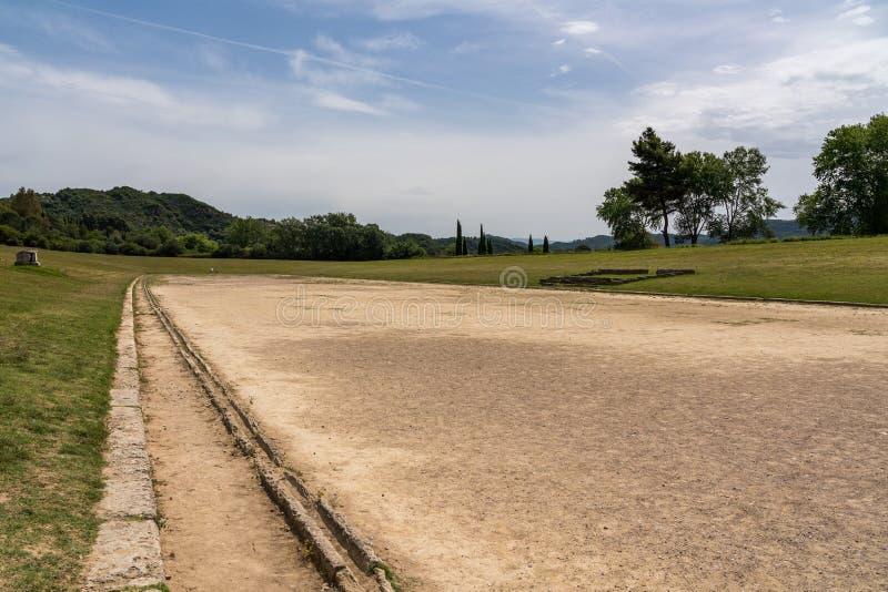 第一奥林匹克的站点的连续体育场在奥林匹亚的在希腊 免版税库存照片