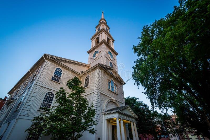 第一座施洗约翰教堂在美国,在上帝,罗德岛州 免版税库存图片