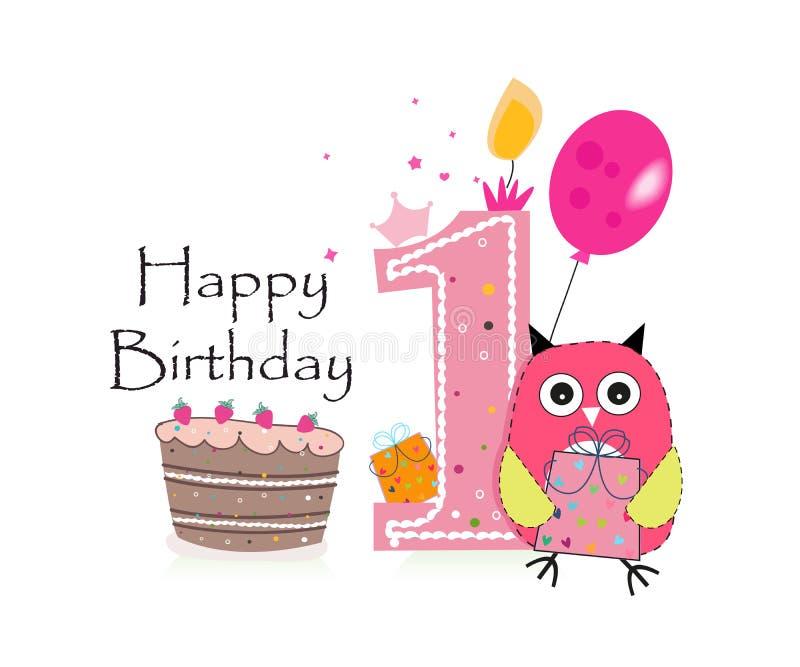第一张生日贺卡 逗人喜爱的桃红色猫头鹰、气球和生日蛋糕导航背景 库存例证