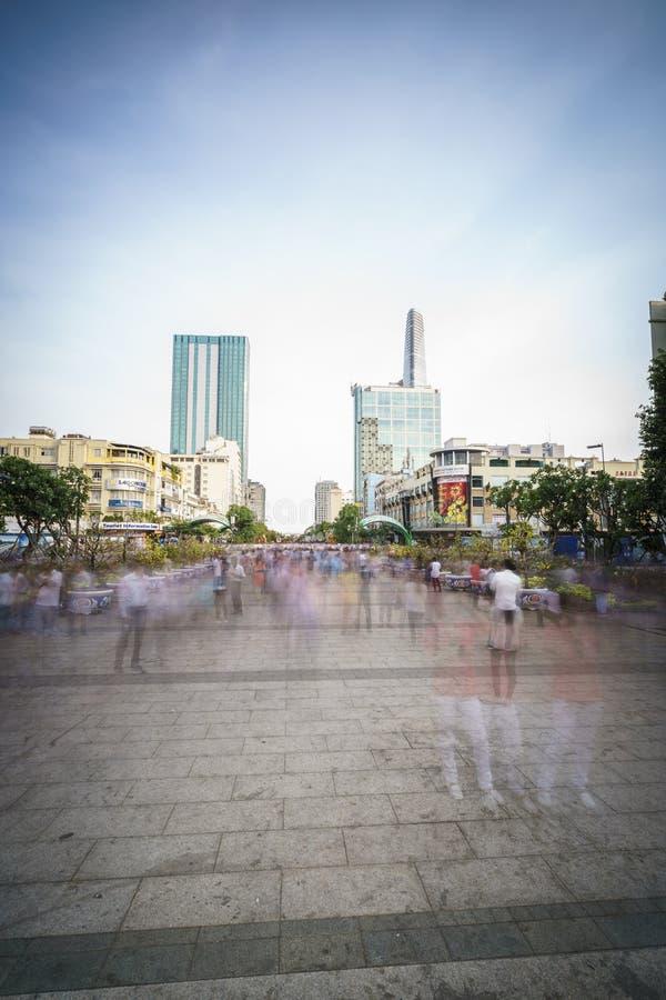 第一条步行街道在越南-颜色安格纽 免版税图库摄影