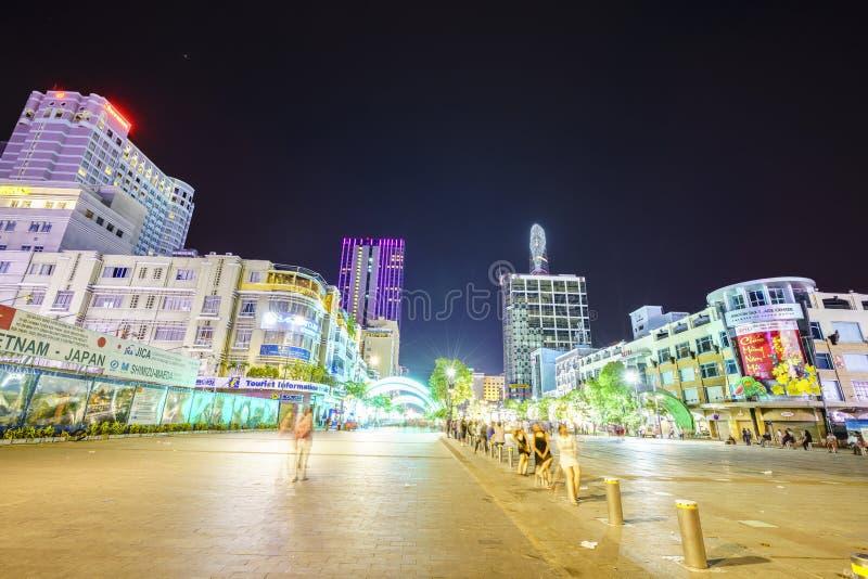 第一条步行街道在越南-颜色安格纽 免版税库存照片