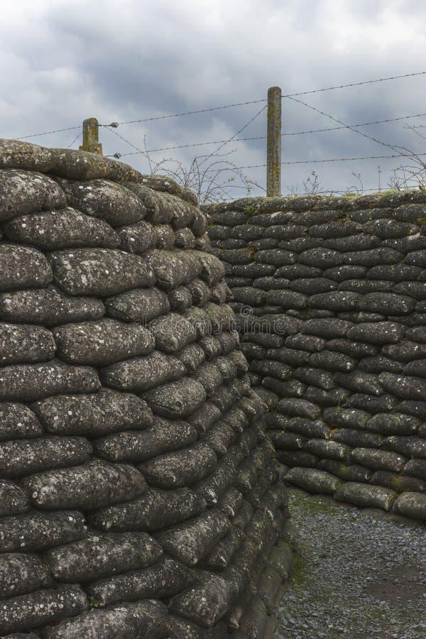 第一次世界大战沟槽在富兰德,在迪克斯梅德附近。 免版税库存图片