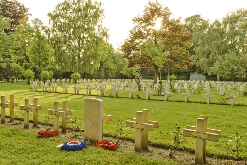 从第一次世界大战的法国公墓在富兰德比利时 库存照片