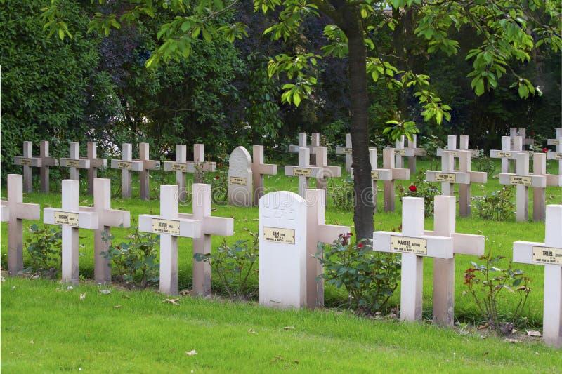 从第一次世界大战的法国公墓在富兰德比利时 库存图片