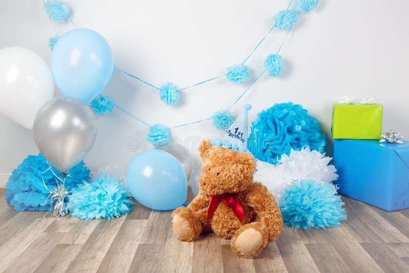 第一次年生日庆祝的背景装饰 免版税库存图片