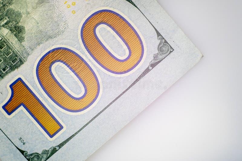 第一百 美国的部分的特写镜头一百元钞票 宏指令 库存图片