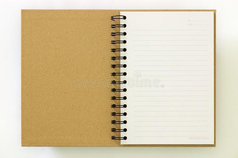第一笔记本页纸张回收 库存图片