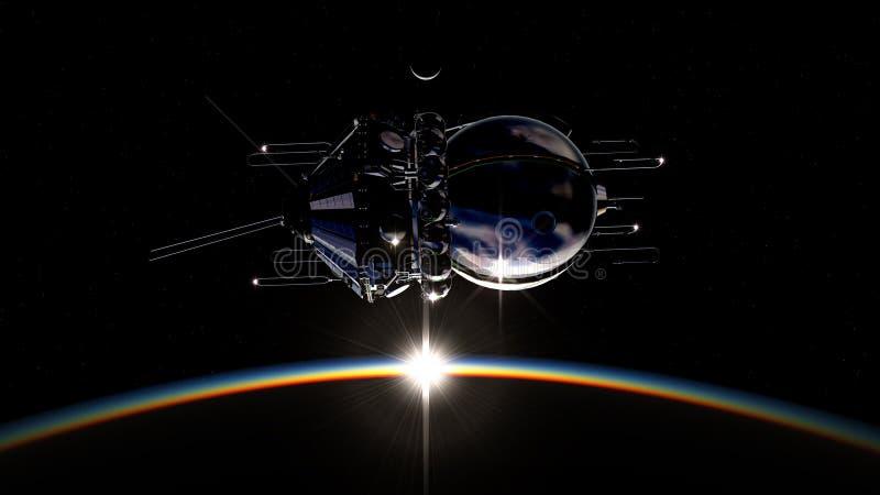 第一艘太空飞船 库存例证