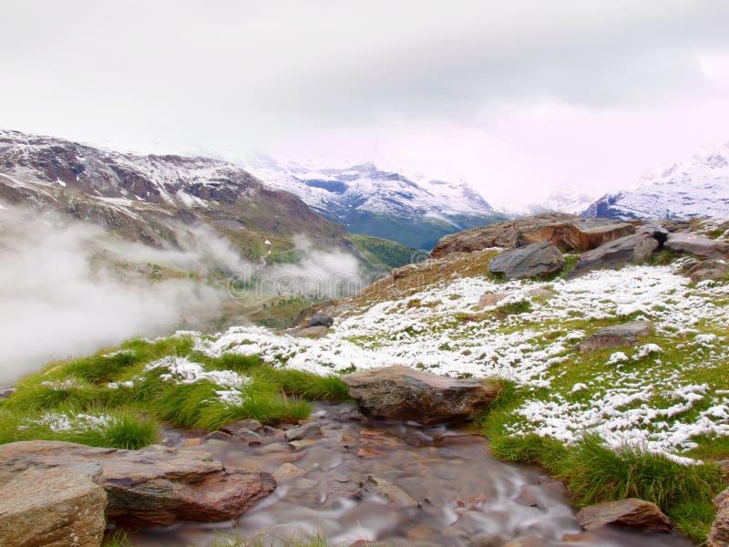 第一雪在阿尔卑斯旅游区域 有急流小河的新鲜的绿色草甸 阿尔卑斯山峰顶在背景中 免版税库存图片