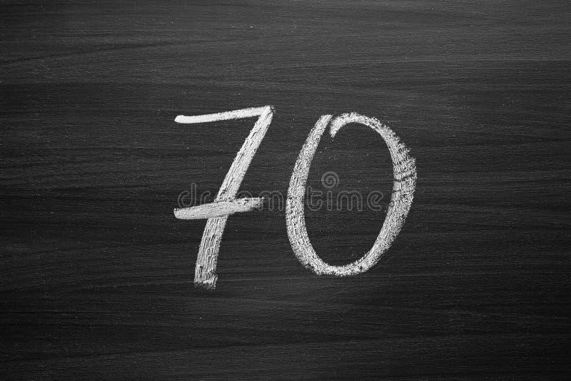 第七十列举写与白垩在黑板 免版税库存图片