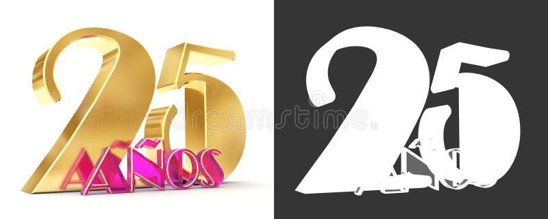 第二十五年25年庆祝设计 您的生日聚会的周年金黄数字模板元素 trans. 库存例证