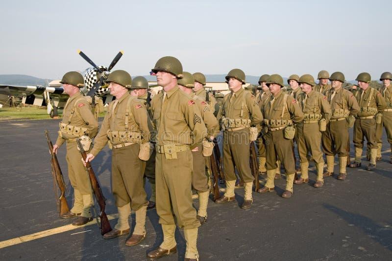 第二次世界大战步兵队伍 库存照片