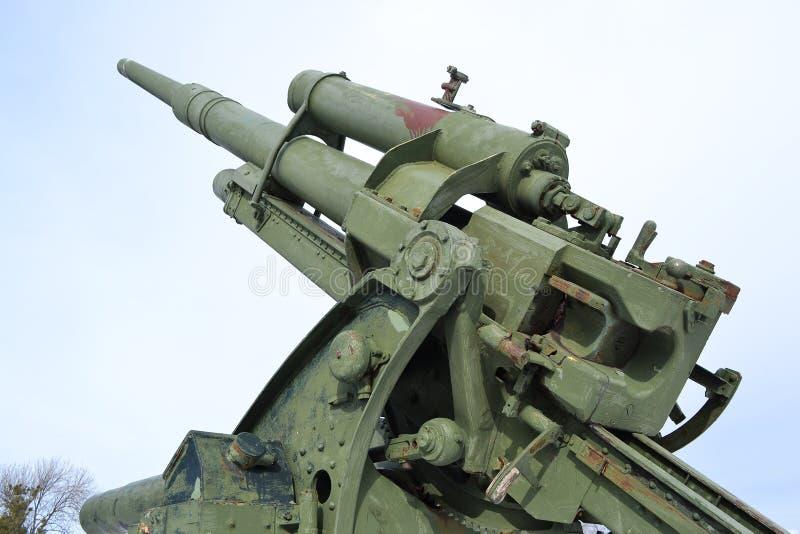 第二次世界大战的老高射炮 库存照片