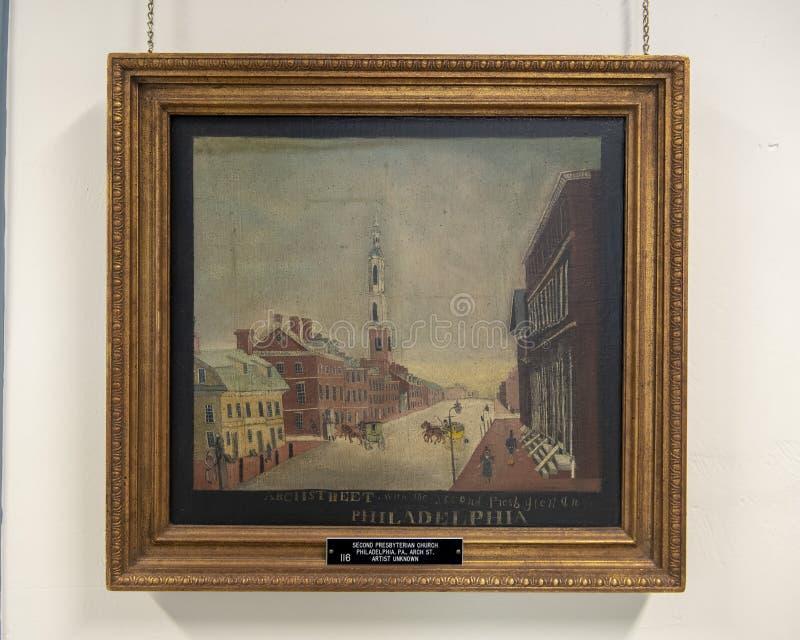 第二长老会的绘画在曲拱街道,费城上的 库存图片